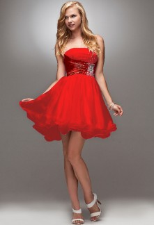 Robe soiree rouge et or