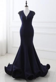 Robe de soirée fourreau dos nu bleu nuit - réf SQ248