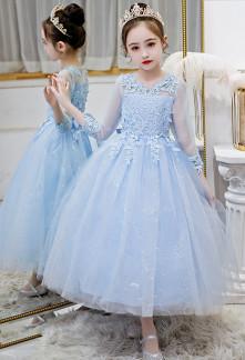 Robe de cérémonie enfant bleu manches en dentelle jupe bouffante