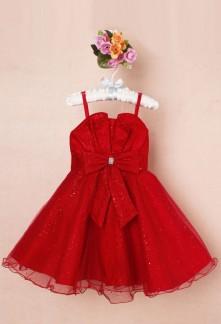 Charmante robe de cortège rouge pour fille de 3 à 12 ans
