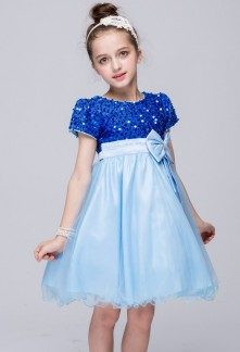 Robe de soirée fille bleu à mancherons