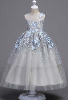 Robe de princesse fille gris bleu finement brodée