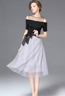 Robe chic noire & gris réf CY8716