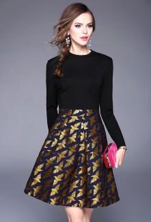 Robe noire habillée manches longues réf CY155
