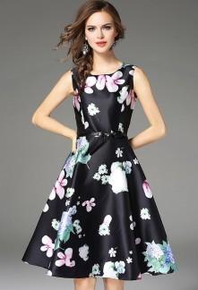 Robe évasée imprimée fleurs réf CY9481