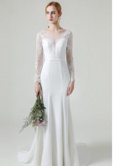Robe de mariée fourreau manches longues