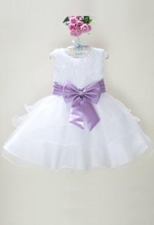 Déstockage - Robe petite fille blanche avec des rubans réf: EF6079