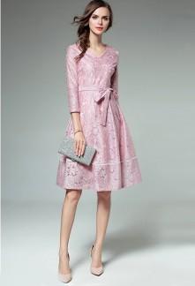 Robe chic rose pastel à manches réf CY8242
