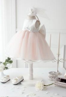 robe de cortège enfant volume rose pastel et blanc
