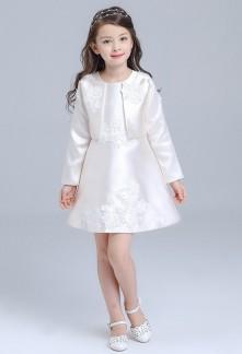 Ensemble robe et veste enfant orné de dentelle réf: EF8511