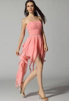 Hanako - robe de soirée bustier asymétrique à volants tombants sur mesure réf 4007
