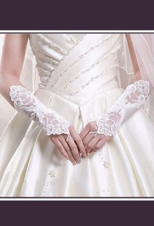 Mitaine gants de mariée longs satin strass perlés dentelle S03