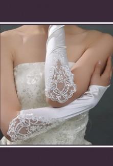 gants mariée long satin strass dentelle perles s17