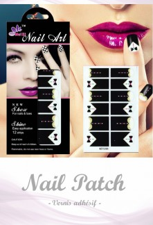 Nail Patch stickers à ongles motif costume noir réf 386