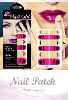 Nail Patch stickers à ongles motif moustache rose réf 387