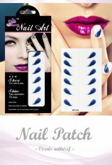 Nail Patch stickers à ongles motif plume bleu réf 209