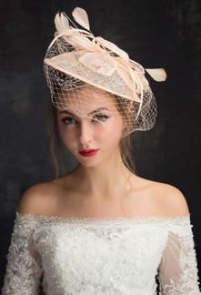 Voilette chapeau rose mariage - réf WH1648