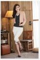 Déstockage - châle boléro gilet cintré avec perles blanches manches longues réf 606