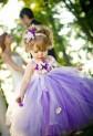 Robe de cortège enfant volumineuse violette à fleurs réf: DY-1025