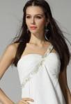 Andrea - robe de soiree courte une bretelle fleuri sur mesure 3321