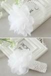Bandeau blanche bébé fille avec grosse fleur