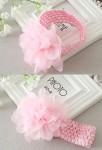 Bandeau fille bébé rose pastel avec fleur