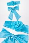 Ceinture à fleur + noeud papillon pour robe enfant - Turquoise