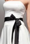 Ceinture noir en ruban satin pour femme