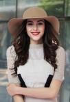 Chapeau femme orné de ruban capeline en laine