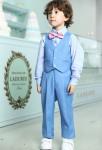 Costume garçon bleu pastel avec gilet assorti