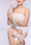 Gants de mariage ivoire finitions perles