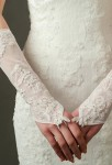 Gants de mariage ivoire broderie