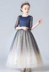 robe cérémonie fille bleu nuit champagne scintillante étoile
