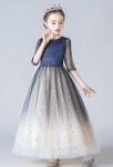 jolie robe cérémonie fille bleu nuit champagne scintillante étoile