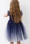 robe enfant bleu nuit dégradée scintillante avec étoiles dorées