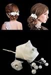 Pic à chignon avec strass, fleur et perles