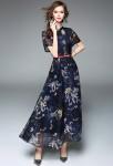 Robe habillée bleu imprimée fleurie à manches