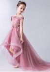 Robe enfant vieux rose asymétrique col bateau