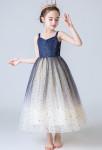 robe de cortège fille scintillante bi-color bleu nuit et champagne
