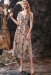 Robe de soirée courte fleurie avec manches courtes