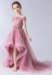Robe de cortège enfant vieux rose asyémtrique