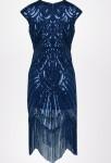 Robe charleston bleu nuit sequins
