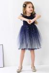 robe enfant bleu nuit scintillante