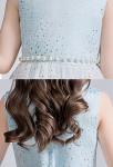 Robe cortège enfant pailletas bleu mariage detail