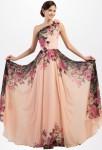 Robe de soirée longue imprimé motif floral