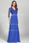 Robe de soirée bleu roi manches longues en dentelle