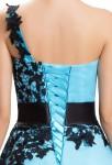Robe de soirée courte bleu - zoom laçage