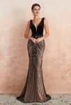 Robe de soirée luxueuse noir sur champagne sirène