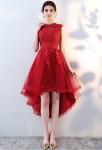 Robe de soirée rouge asymétrique dentelle tulle