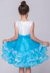 Robe de cortège enfant bleu pastel blanc volants